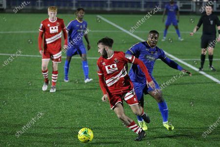 Stock Picture of Ben Hunter of Sudbury and Mekhi Leacock-McLeod of Romford during Romford vs AFC Sudbury, BetVictor League North Division Football at Parkside on 4th March 2020
