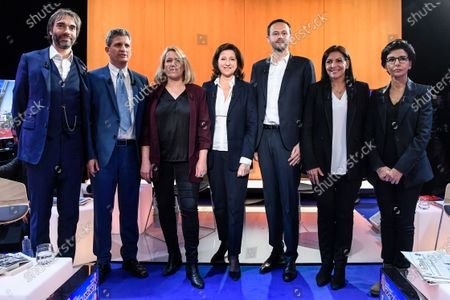 (From L) independant Cedric Villani, Rassemblement National (RN) far-right party's Serge Federbusch, La France Insoumise (LFI) leftist party's Danielle Simonnet, La Republique en Marche (LREM) ruling center-liberal party's Agnes Buzyn, Europe Ecologie Les Verts (EELV) ecologist party's David Belliard, Socialist party's outgoing mayor Anne Hidalgo and Les Republicains (LR) right-wing party's Rachida Dati, pose before taking part in a debate gathering seven out of eight candidates running for Paris' city mayor broadcasted by French news TV channel LCI in Boulogne-Billancourt, near Paris, France, 04 March 2020, less than two weeks ahead of the election's first round.