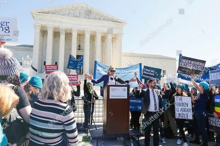 Stock Photo of Actor and author, Busy Philipps, speaks to abortion rights supporters organized by the Center for Reproductive Rights during a rally at the U.S. Supreme Court during the hearing of oral arguments in June Medical Services v. Russo on in Washington