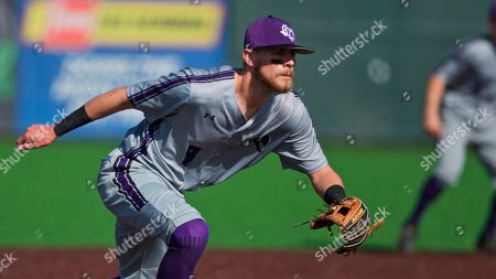 Stephen F Austin infielder Sean Moore during an NCAA baseball game on in Portland, Ore