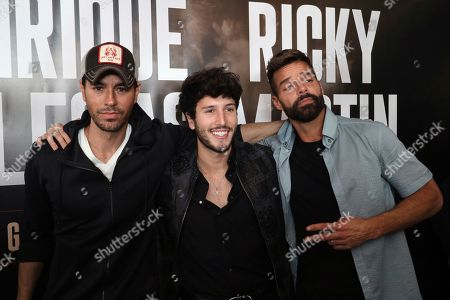 Stock Photo of Enrique Iglesias, Sebastian Yatra, Ricky Martin. Enrique Iglesias, from left, Sebastián Yatra and Ricky Martin attend the Enrique Iglesias and Ricky Martin Press Conference at The London West Hollywood Hotel, in West Hollywood, Calif