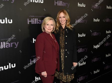 """Hillary Clinton, Dana Waldman. Former secretary of state Hillary Clinton, left, poses with Disney Television Studios and ABC Entertainment chairwoman Dana Walden at the premiere of the Hulu documentary """"Hillary"""" at the DGA New York Theater, in New York"""