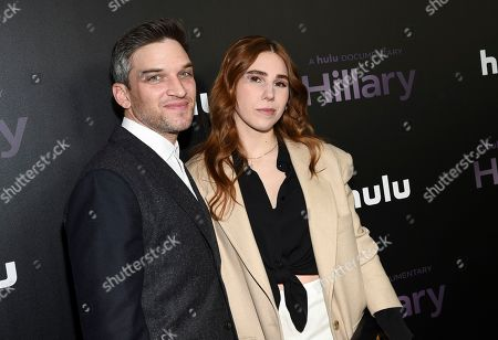 "Evan Jonigkeit, Zosia Mamet. Actors Evan Jonigkeit, left, and Zosia Mamet attend the premiere of the Hulu documentary ""Hillary"" at the DGA New York Theater, in New York"