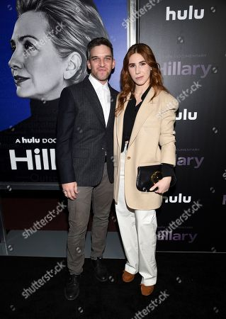 "Stock Picture of Evan Jonigkeit, Zosia Mamet. Actors Evan Jonigkeit, left, and Zosia Mamet attend the premiere of the Hulu documentary ""Hillary"" at the DGA New York Theater, in New York"
