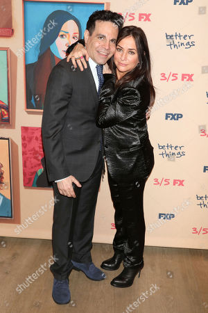 """Mario Cantone, Pamela Adlon. Mario Cantone, left, and Pamela Adlon attend the premiere of FX's """"Better Things"""" at The Whitby Hotel, in New York"""