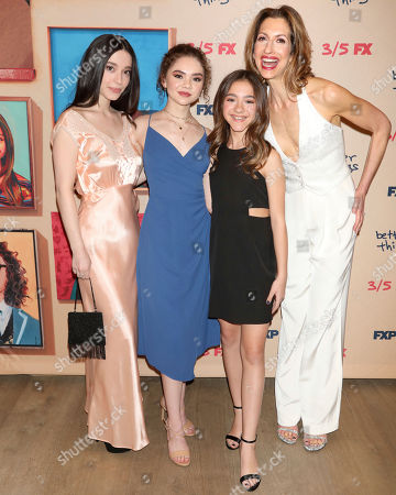 "Mikey Madison, Hannah Alligood, Olivia Edward, Alysia Reiner. Mikey Madison, from left, Hannah Alligood, Olivia Edward and Alysia Reiner attend the premiere of FX's ""Better Things"" at The Whitby Hotel, in New York"