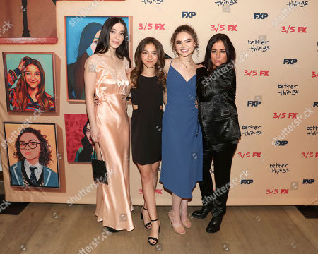 """Mikey Madison, Olivia Edward, Hannah Alligood, Pamela Adlon. Mikey Madison, from left, Olivia Edward, Hannah Alligood and Pamela Adlon attend the premiere of FX's """"Better Things"""" at The Whitby Hotel, in New York"""