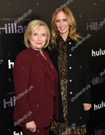"""Stock Image of Hillary Clinton, Dana Waldman. Former secretary of state Hillary Clinton, left, poses with Disney Television Studios and ABC Entertainment chairwoman Dana Walden at the premiere of the Hulu documentary """"Hillary"""" at the DGA New York Theater, in New York"""