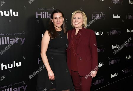 """Nanette Burstein, Hillary Clinton. Director Nanette Burstein, left, and former secretary of state Hillary Clinton pose together at the premiere of the Hulu documentary """"Hillary"""" at the DGA New York Theater, in New York"""