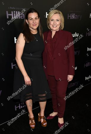 """Stock Image of Nanette Burstein, Hillary Clinton. Director Nanette Burstein, left, and former secretary of state Hillary Clinton pose together at the premiere of the Hulu documentary """"Hillary"""" at the DGA New York Theater, in New York"""