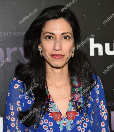 """Huma Abedin attends the premiere of the Hulu documentary """"Hillary"""" at the DGA New York Theater, in New York"""