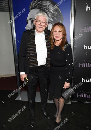 "Phil Donahue, Marlo Thomas. Phil Donahue, left, and wife Marlo Thomas attend the premiere of the Hulu documentary ""Hillary"" at the DGA New York Theater, in New York"