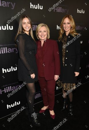 """Aliza Walden, Hillary Clinton, Dana Waldman. Former secretary of state Hillary Clinton, center, poses with Disney Television Studios and ABC Entertainment chairwoman Dana Walden, right, and daughter Aliza Walden at the premiere of the Hulu documentary """"Hillary"""" at the DGA New York Theater, in New York"""