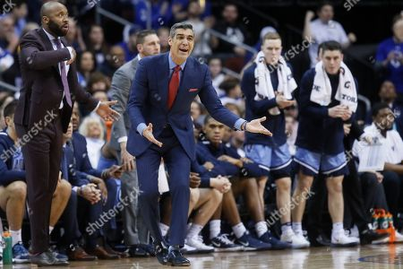 Villanova head coach Jay Wright reacts during the first half of an NCAA college basketball game against Seton Hall, in Newark, N.J