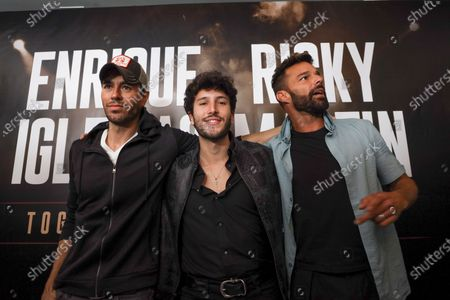 Enrique Iglesias (L) poses with Puerto Rican singer Ricky Martin (R) and Colombian singer Sebastian Yatra (C) before the press conference to announce their 2020 tour, in Beverly Hills, California USA, 04 March 2020. The tour in North America's arenas, with Sebastian Yatra as special guest, will kick off on 05 September 2020 in Phoenix, USA.