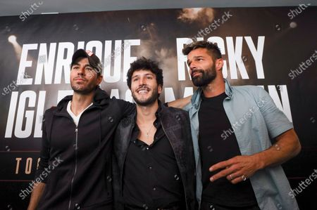 Stock Image of Enrique Iglesias (L) poses with Puerto Rican singer Ricky Martin (R) and Colombian singer Sebastian Yatra (C) before the press conference to announce their 2020 tour, in Beverly Hills, California USA, 04 March 2020. The tour in North America's arenas, with Sebastian Yatra as special guest, will kick off on 05 September 2020 in Phoenix, USA.