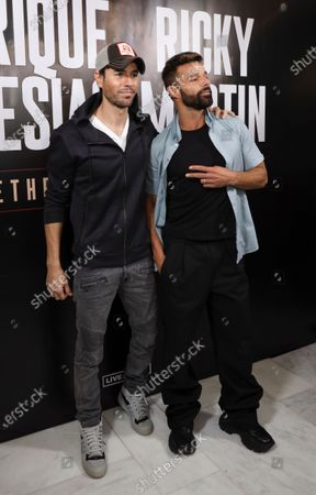 Enrique Iglesias (L) poses with Puerto Rican singer Ricky Martin (R) before the press conference to announce their 2020 tour, in Beverly Hills, California USA, 04 March 2020. The tour in North America's arenas, with Colombian singer Sebastian Yatra as special guest, will kick off on 05 September 2020 in Phoenix, USA.