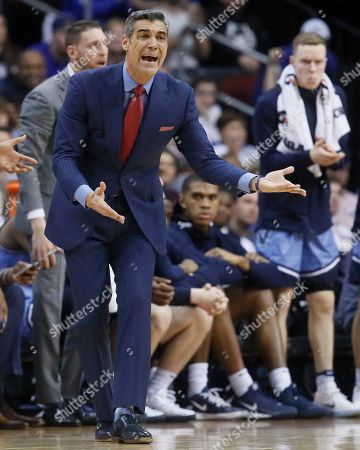 Villanova head coach Jay Wright during the first half of an NCAA college basketball game against Seton Hall, in Newark, N.J