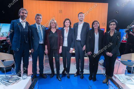 From left to right Cedric Villani, Serge Federbusch, Danielle Simonnet, Agnes Buzyn, David Belliard, Anne Hidalgo and Rachida Dati.