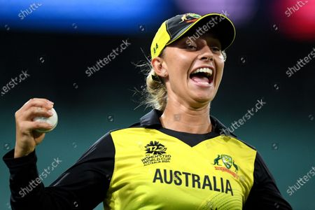 Ashleigh Gardner of Australia celebrates after taking a catch to dismiss Lizelle Lee of South Africa during the Women's T20 World Cup semi-final match between Australia and South Africa at the Sydney Cricket Ground (SCG) in Sydney, Australia, 05 March 2020.