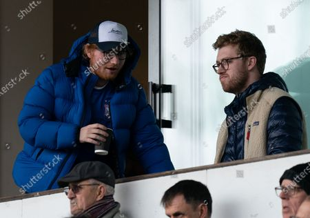Stock Picture of Ipswich Town Fan and Musician Ed Sheeran watches from the stands at Portman Road