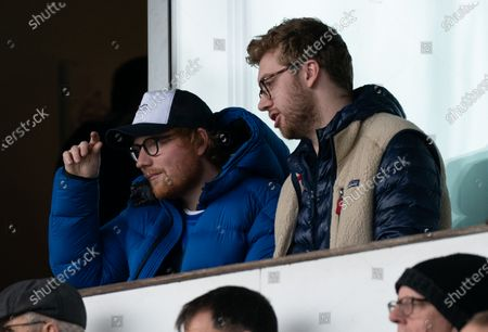 Ipswich Town Fan and Musician Ed Sheeran watches from the stands at Portman Road