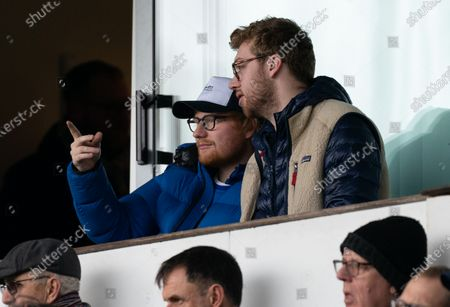 Ipswich Town and Musician Ed Sheeran watches from the stands at Portman Road