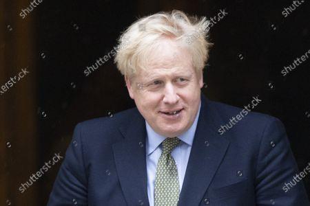 Prime Minster Boris Johnson departs 10 Downing Street to meet President of Malta George Vella .