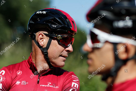 Team Ineos manager Sir Dave Brailsford attends a training session in Brussels. The team of reigning Tour de France champion Egan Bernal has withdrawn from all races over the next three weeks amid the spread of the new virus outbreak and following the death of one of its sports directors