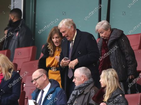 West Ham's Karren Brady and Sir Trevor Brooking chat as they walk out to watch the second-half at the Arsenal v West Ham United English Premier League game, at the Emirates Stadium, London, UK on March 7, 2020.**Editorial use only, license required for commercial use. No use in betting, games or a single club/league/player publications**
