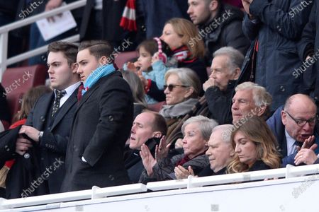 Jack Sullivan, Sir Trevor Brooking, Karren Brady and David Gold the Premier League match between Arsenal and West Ham at the Emirates Stadium in London, UK - 7th March 2020