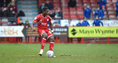 Bez Lubala of Crawley scores their third goal from the penalty spot during the League Two match between Crawley Town and Oldham Athletic at The People's Pension Stadium, Crawley, UK - 7th March 2020