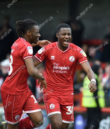 Bez Lubala of Crawley celebrates after scoring their third goal during the League Two match between Crawley Town and Oldham Athletic at The People's Pension Stadium, Crawley, UK - 7th March 2020
