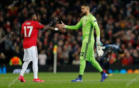 Fred of Manchester United and Goalkeeper Sergio Romero of Manchester United at the end of the match