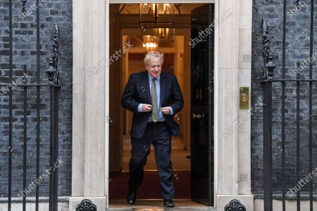 Stock Picture of British Prime Minister Boris Johnson at No.10 Downing Street, London.