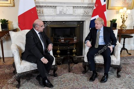 Stock Photo of President of Malta George Vella and Prime Minister Boris Johnson in a bilateral meeting at No.10 Downing Street.