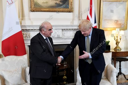 President of Malta George Vella and Prime Minister Boris Johnson in a bilateral meeting at No.10 Downing Street.