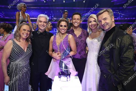Stock Picture of 'Dancing On Ice 2020' winners Joe Swash and Alex Murphy with Jayne Torvill, Phillip Schofield, Holly Willoughby and Christopher Dean