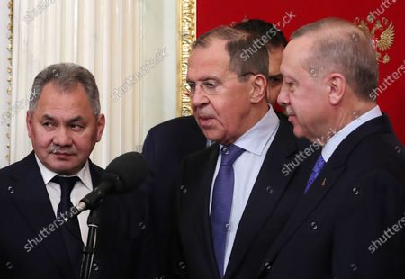 Russian Defense Minister Sergey Shoygu (L), Russian Foreign Minister Sergey Lavrov (C) and Turkish President Recep Tayyip Erdogan (R) after Russian-Turkish talks at the Kremlin in Moscow, Russia, 05 March 2020. Russia and Turkey agreed to a ceasefire in Syrian Idlib starting from 06 March.
