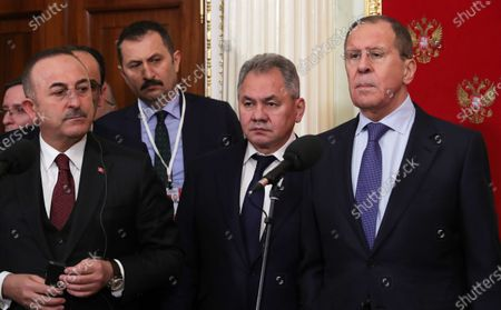 Turkish Foreign Minister Mevlut Cavusoglu (front L), Russian Defense Minister Sergey Shoygu (2-R) and Russian Foreign Minister Sergey Lavrov (R) attend a joint news conference of Russian and Turkish Presidents following their talks at the Kremlin in Moscow, Russia, 05 March 2020. Russia and Turkey agreed to a ceasefire in Syrian Idlib starting from 06 March.