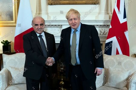 British Prime Minister Boris Johnson (R) meets with  President of Malta George Vella (L) inside 10 Downing Street in London, Britain, 05 March 2020.