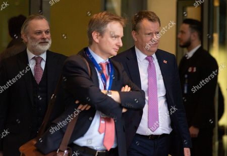British prime ministers Europe advisor David Frost, second right, and Britain's Permanent Representative to the EU Tim Barrow, left, leave EU headquarters in Brussels after the first week of EU-UK negotiations, . The negotiators for Brexit say there are many serious divergences between the 27-country bloc and the UK after the first round of negotiations aimed at defining their future relationship