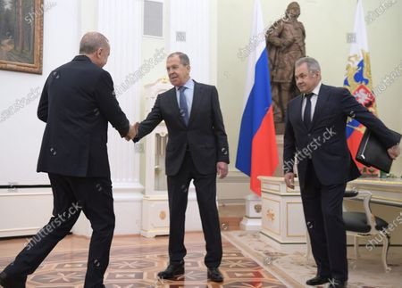 Turkish President Recep Tayyip Erdogan (left), Minister of Defense of Russia Sergey Shoygu (right) and Russian Minister of Foreign Affairs Sergey Lavrov (right) is seen during the talks between Russian President Vladimir Putin and Turkish President Recep Tayyip Erdogan in the Kremlin, Moscow