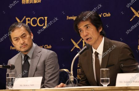 Japanese actors Ken Watanabe (L) and Koichi Sato (R) speak at the Foreign Correspondents' Club of Japan.