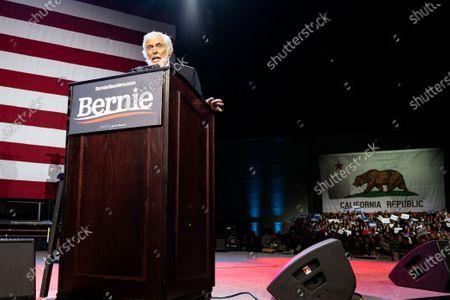 Actor Dick Van Dyke speaks at the campaign rally for Democratic presidential candidate Senator Bernie Sanders in Los Angeles, California.