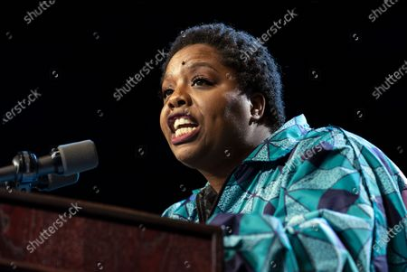 Black Lives Matter co-founder Patrisse Cullors speaks at the campaign rally for Democratic presidential candidate Senator Bernie Sanders in Los Angeles, California.