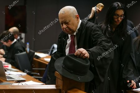 Former Portuguese prime minister, Jose Socrates ' lawyer, Joao Araujo (L), during the fact-finding debate into the high-profile corruption case known as Operation Marques at the Justice Campus in Lisbon, Portugal, 05 March 2020. Operation Marques has 28 defendants - 19 people and 9 companies - including former prime minister Jose Socrates, banker Ricardo Salgado, businessman and friend of Socrates Carlos Santos Silva and senior staff of Portugal Telecom and is related to crimes of corruption, active and passive, money laundering, document forgery and tax fraud.