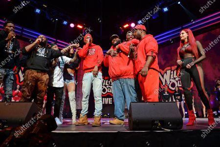 Stock Photo of Pretty Vee, Emmanuel Hudson, Yvng Swag, Lil JJ, Rip Micheals, Nick Cannon, Big Mack and Justina Valentine