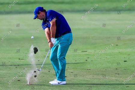 Patrick Reed of the US hits his second shot on the thirteenth hole during the first round of the Arnold Palmer Invitational golf tournament at Bay Hill Club & Lodge in Orlando, Florida, USA, 05 March 2020.