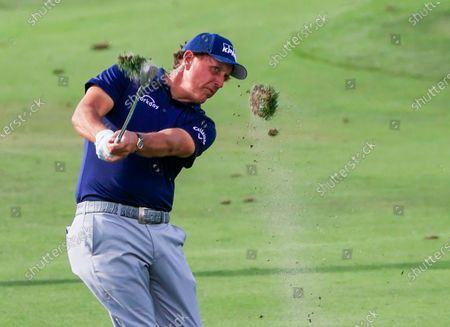 Phil Mickelson of the US send turf flying as he hits his approach shot on the thirteenth hole during the first round of the Arnold Palmer Invitational golf tournament at Bay Hill Club & Lodge in Orlando, Florida, USA, 05 March 2020.